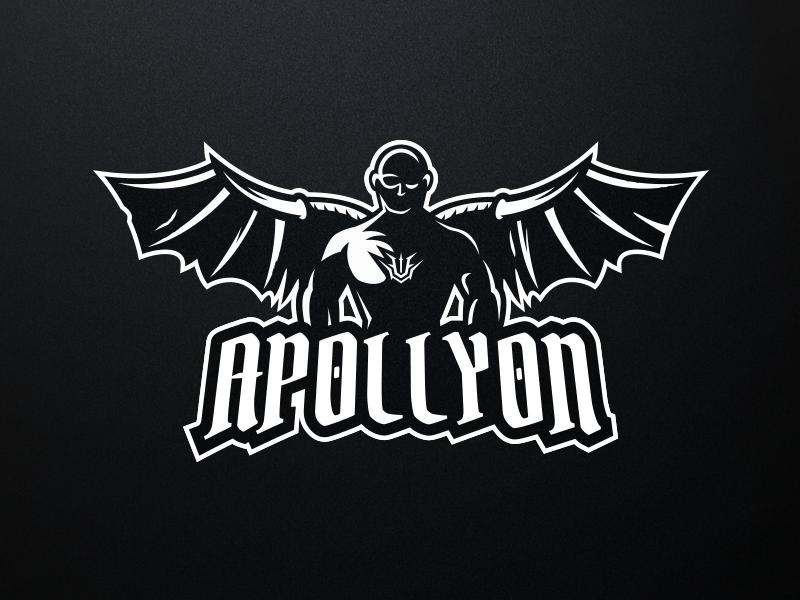 Apollyon Logo Design dark black wings streamer logo vector streaming gaming branding design branding mascot logodesign logo