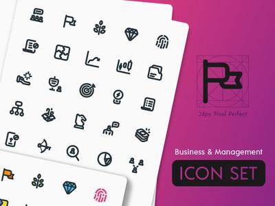 Business & Management Icon Set outline line art challenge pixel perfect icon set icon management business