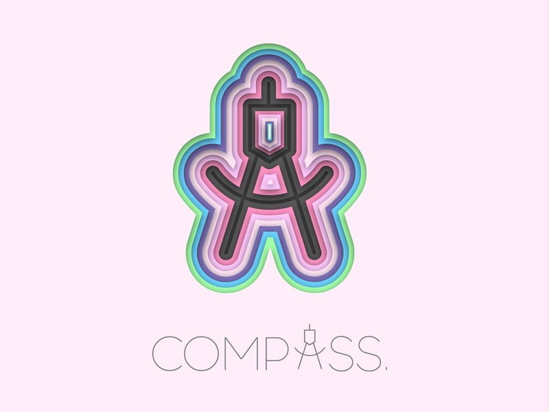 Compass paper cut godus flat design logo illustration pink depth layer-art compass
