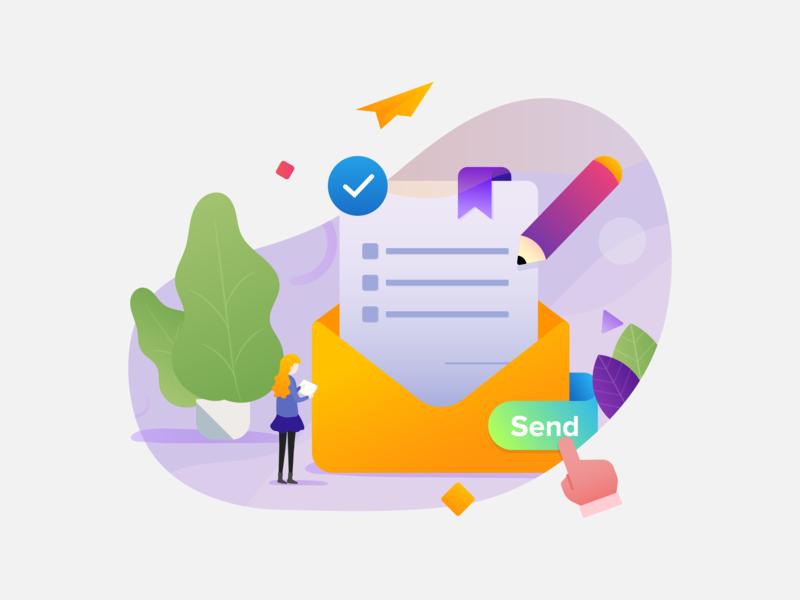 Booking for Queue envelopes pencil message send mood design gradient flat design icon ux process uxd ui pack ui ux queue ilustration booking app booking