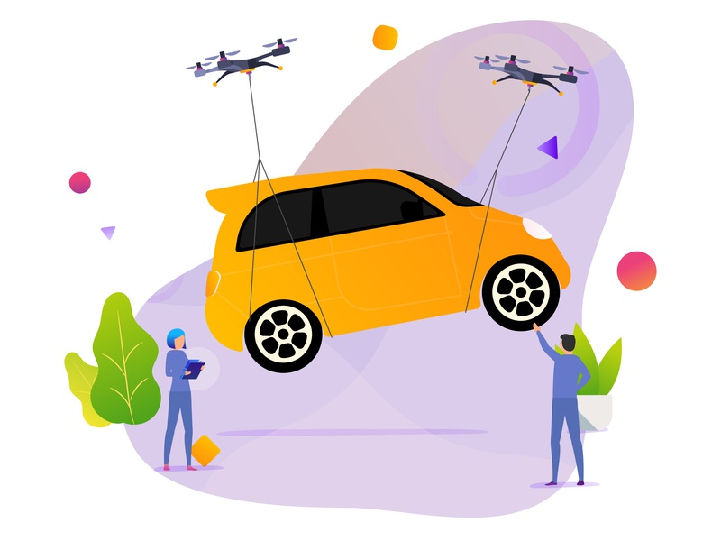 Deliver Your Car web people gradient character graphic design repair car delivery service ux design ui illustration drone delivery