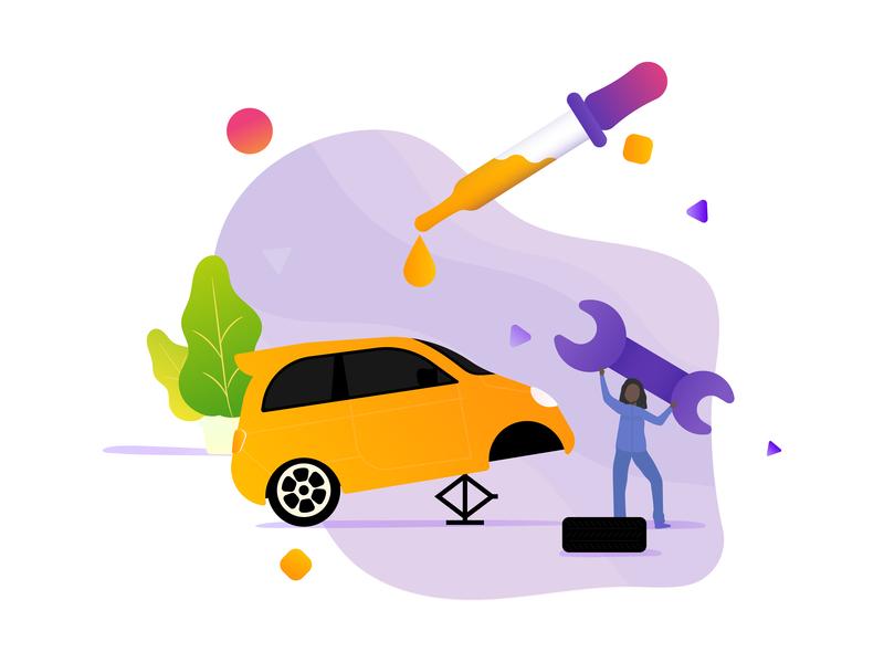 Touch Up gradient flat design landing page web concept icon illustration mood ui autocare daily care car app maintenance services auto car