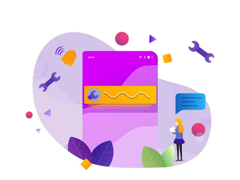 Text update auto repair vehicle service landing page app web gradient ui icon illustration notification messager update text auto