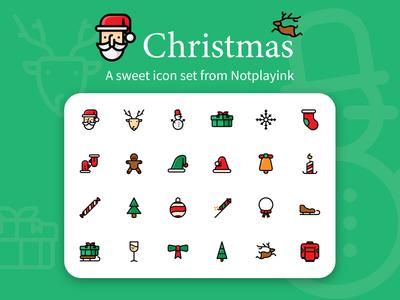 Christmas Icon Set button ui uiux adobe santa hat deer winter christmas icon set flat design graphic design illustration icon design icon