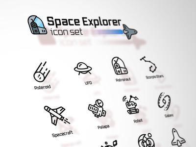 Space Explorer icons icon design graphic design design science exploration illustration mars astronaut ufo space x icon pack icon set icon satelite nasa exoplanet planet space