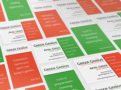 Gg business cards red green