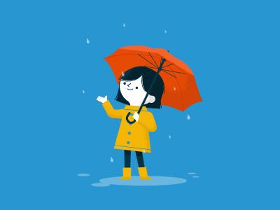 Rainy Day childrens illustration kids illustration weather umbrella rain girl character rainy day illustration