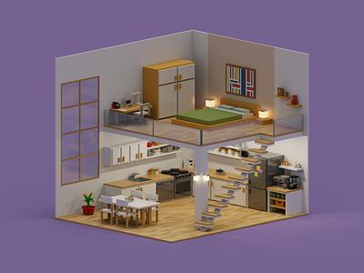 Loft kitchen bedroom apartment home loft render 3d magicavoxel voxelart voxel