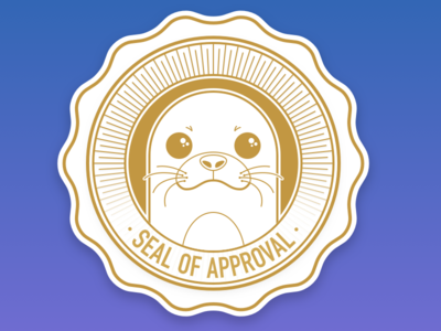 Seal of Approval Sticker gold pun funny animal sticker approval seal