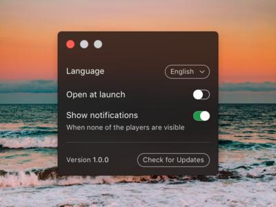 Spotify Mini Player Preferences button select combo toggle settings preferences player mini spotify