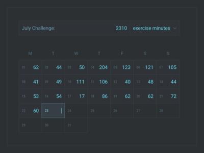 Monthly Challenge – Calendar month exercise combo input calendar dark theme data visualization
