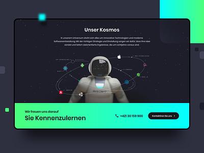 28apps Website UI - Unsere Kosmos referenzen design entwicklung app entwicklung webentwicklung stars dark dark website dark ui spaceman softwareentwicklung 28apps software gmbh deutschland bremen 28apps kosmos