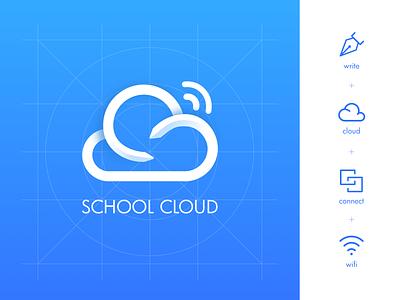 School Cloud - Logo Design connect education brand logo wifi internet school write
