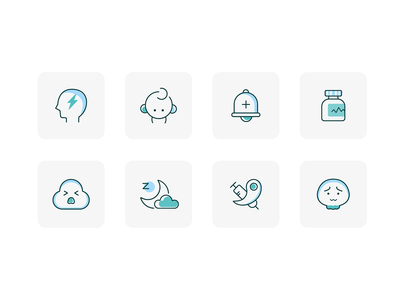 Mental health icons remind sleep children depression anxiety drug treatment health head mental icon