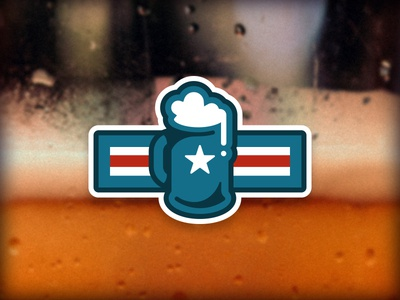 Brewed in America mug insignia badge vector illustration branding military patriotic americana america usa brewed beer