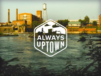 Always Uptown georgia columbus illustration brand cityscape city badge logo branding