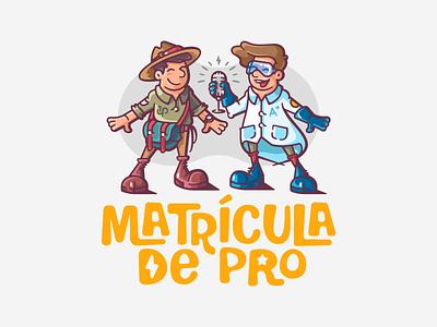 Martícula de Pro children fun colorful microphine glasses hat scout ranger scientist podcast branding mark logotype design logo illustration