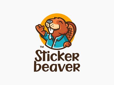 Sticker Beaver logo typo leaf mapleleaf maple canada mascot character illustration branding mark logotype design beaver sticker