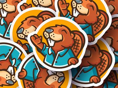 Sticker Beaver sticker beaver logo typo design logotype mark branding illustration character mascot canada maple mapleleaf leaf