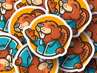 Sticker Beaver sticker beaver logo typo design logotype mark branding illustration character mascot canada maple mapleleaf leaf