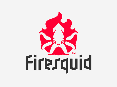 Firesquid character typeface typo negativespace tentacles flame fire squd illustration branding mark logotype design logo
