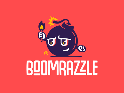 Boomrazzle wordmark type typface logodesign flame fire matches bomb boom mascot character illustration branding mark logotype design logo