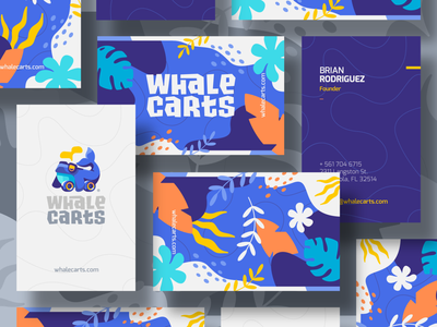 WhaleCarts Business Card cart beach typo typography waves glasses sea coral pattern business card wheels whale illustration branding mark logotype design logo