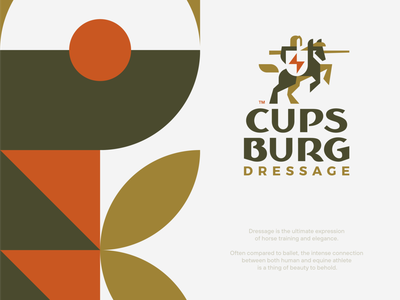 Cupsburg negativespace knight dressage rider horse geometric minimal illustration pattern branding mark logotype design logo