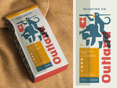 Outland Roasting Co. typography typo packaghing flat illustration branding mark logotype design logo animal monkey flag coffee bean roaster coffee bull