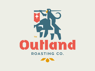 Outland Roasting Co. typography typo packaghing flat illustration branding mark logotype design logo animal monkey flag coffee bean roaster coffee bull