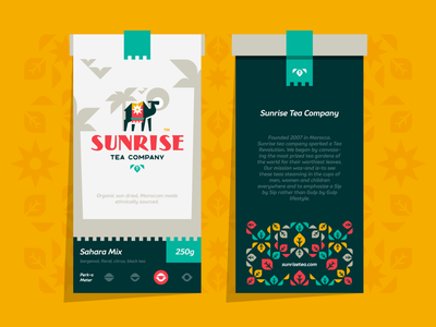 Sunrise Tea colorful typography typo animal moroccan sunrise camel desert palm sun leaf leaves tea illustration branding mark logotype design logo
