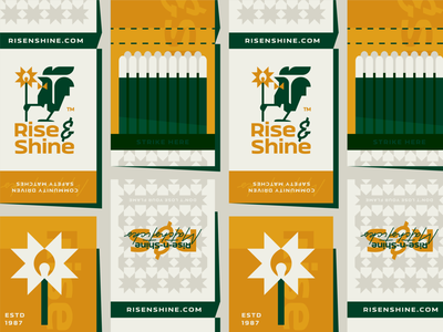Risen-n-Shine Matches flat typo matchstick bowtie matches rooster chicken sunshine shine rise illustration branding mark logotype design logo