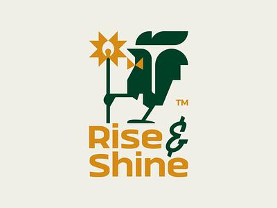 Rise-n-Shine typo bowtie chicken sunshine sun matchstick matches shine rise rooster flat illustration branding mark logotype design logo