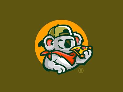 Pizza Bro bandana logotype bro typo typography cap cute koala animal pizza mark illustration branding logomark design logodesign logo