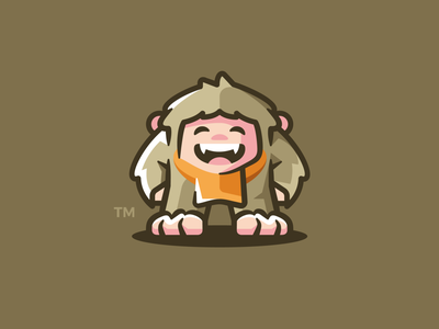 Squatch bigfoot apparel scarf smile squatch sasquatch vector monster illustration branding mark logotype design logo