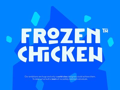Frozen Chicken typograpy typo vector bone cold drumstick chicken frozen frost ice flat illustration branding mark logotype design logo
