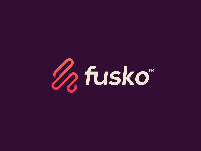 Fusko type flat f gradient monogram modern logotype logo letter illustration design brand