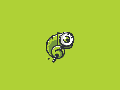 Spotter spot mark magnifying logotype logo design cute colorful clever chameleon branding animal
