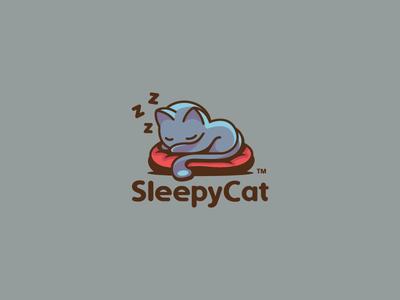 SleepyCat modern sleepy sleeping animal cat colorful illustration branding mark logotype design logo