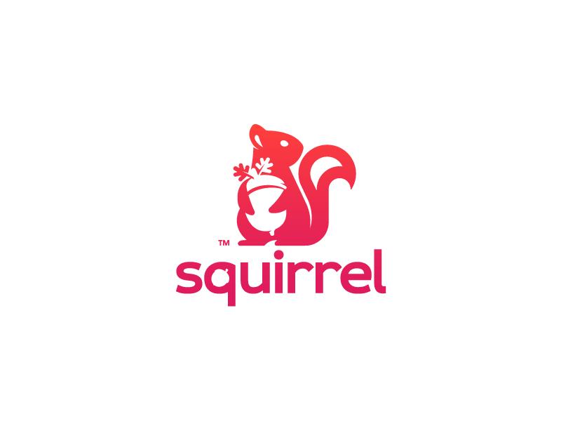 Squirrel tail squirrel mascot mark logotype logo illustration gradient design branding animal acorn