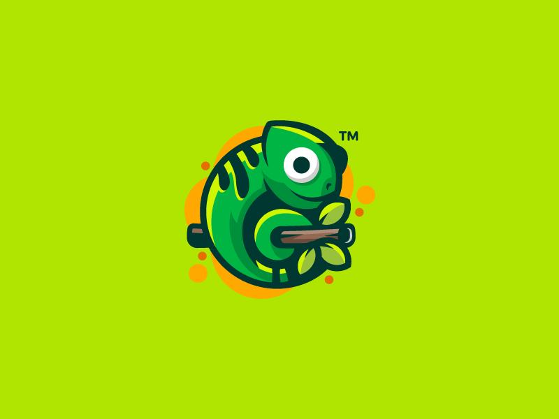 Chameleon mark logotype logo lizard illustration green design cute colorful character chameleon branding