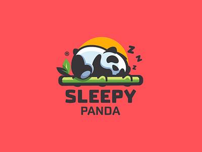 Sleepy Panda cute colorful bamboo sleeping panda animal illustration branding mark logotype design logo