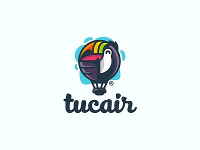 Tucair clouds air toucan bird ballon colorful illustration branding mark logotype design logo