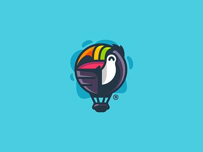 Tucair toucan mark logotype logo illustration design colorful clouds branding bird ballon air
