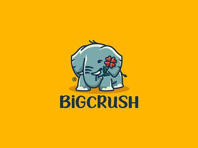 BigCrush heart flower ears elephant animal character illustration branding mark logotype design logo