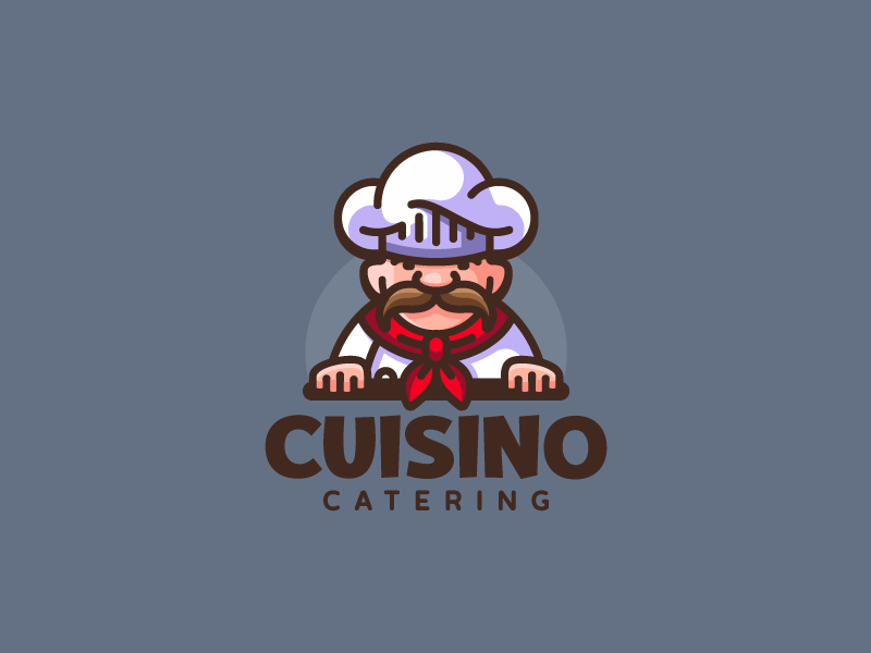 Cuisino food mascot hat character cuisine chef illustration branding mark logotype design logo