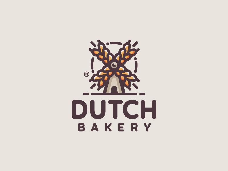 Dutch Bakery windmill wheat mark logotype logo illustration food farm dutch design branding bakery
