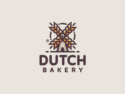 Dutch Bakery windmill wheat mark logotype logo illustration food farm dutch design branding bakery
