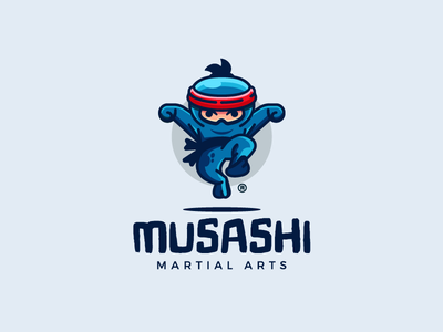 Musashi character fight kick sport ninja martial illustration branding mark logotype design logo