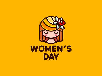 Women's Day beauty flower day girl women march illustration branding mark logotype design logo